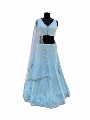 Beautiful Sky Blue Embroidered Lehenga