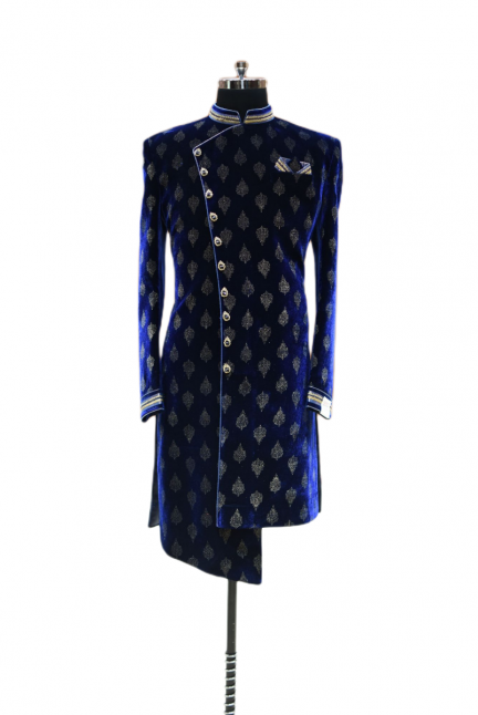 Stylish Dark Blue Indo-Western Suit