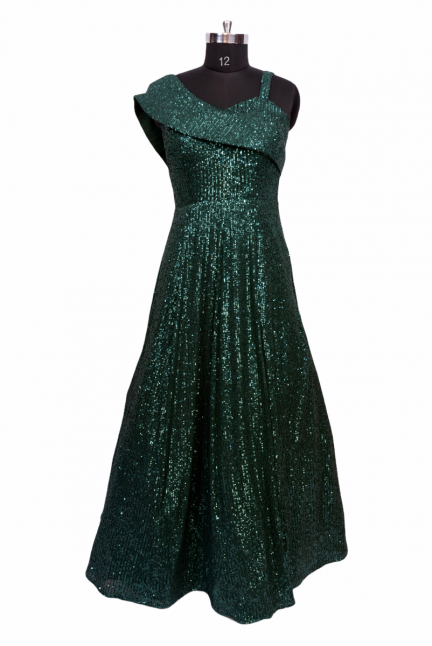 Green Sequinned Evening Gown