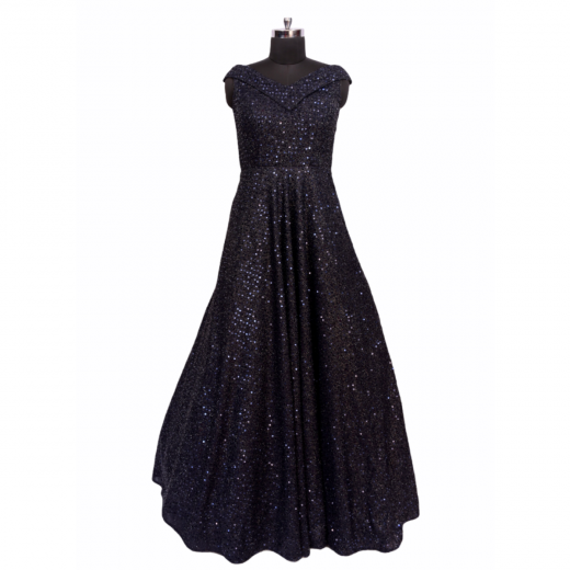 Navy Blue Sequinned Gown