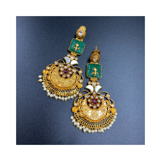 Fancy Gold Plated Green Earrings In Combination Of Mother Of Pearl And Kundan