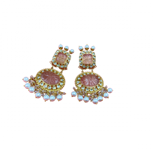 Beautiful Kundan Earrings With Pink Coloured Natural Stones