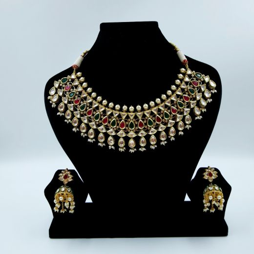 Premium Quality Kundan Necklace Set With Ruby And Green Stones