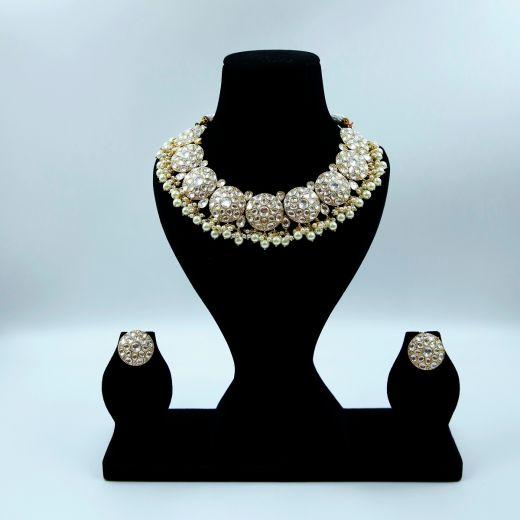 High Gold Plated Kundan Set With Studs