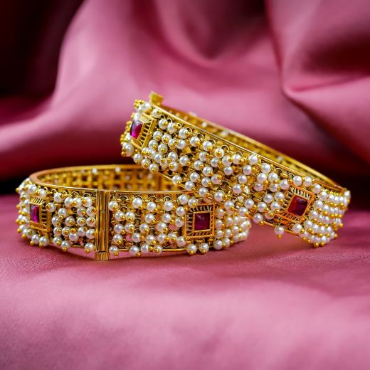 Ruby And Moti Micro Gold Plated Antic Bangles