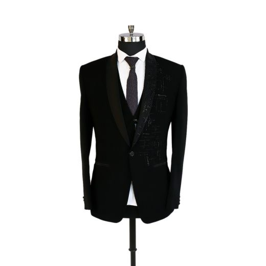 Black Tuxedo Suit Made Of High Quality Imported Fabric