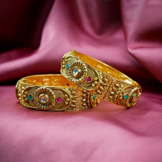 Ruby Green White Stones Micro Gold Plated Antic Bangles