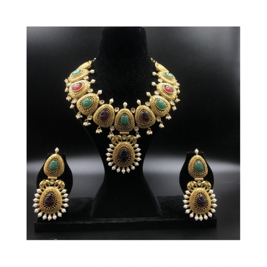 Designer Antique Gold Plated Ruby And Green Kundan Necklace With Elephant Motif