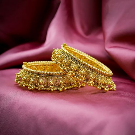 Designer Golden Beads Micro Gold Plated Antique Bangles
