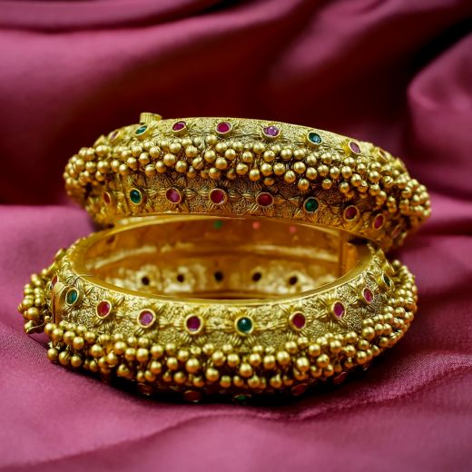 Ruby And Green Micro Gold Plated Antic Bangles