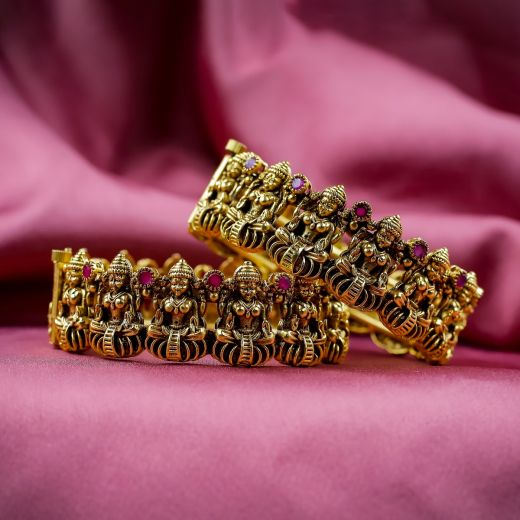Laxmiji Idol With Ruby Micro Gold Plated Antique Bangles
