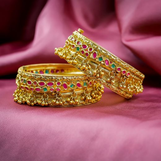 Ruby Green Micro Gold Plated Antic Bangles 2