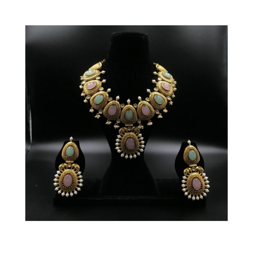 Designer Gold Plated Light Pink And Mint Necklace With Pearls And Elephant Motif