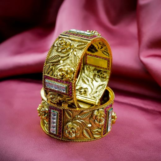 Ruby White Rose Pattern Micro Gold Plated Antic Bangles