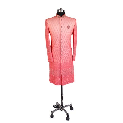 Shaded Coral Sherwani High Quality Imported Fabric