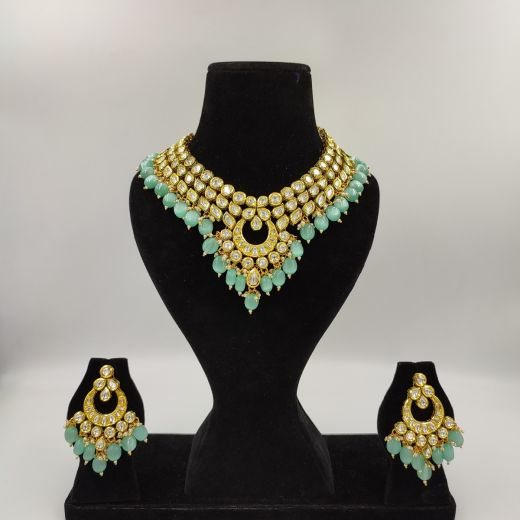 Kundan Work Necklace Set with Pastel Green Beads
