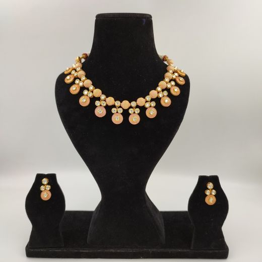 Designer Necklace in Peach and Gold Combination