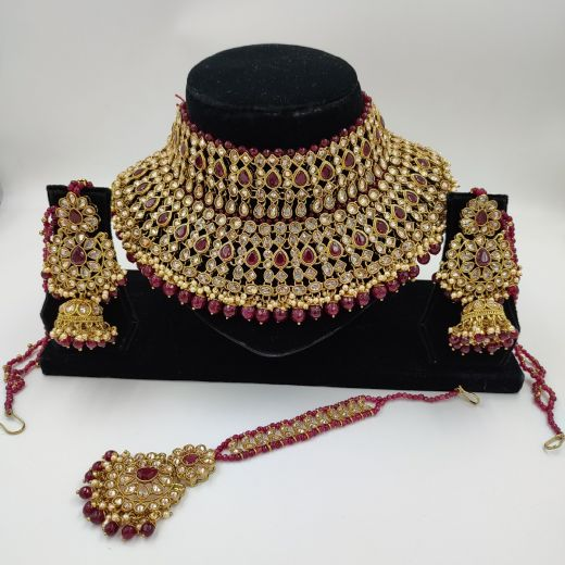 Bridal Set with Ruby Color stones and Teeka