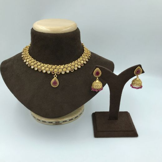 Micro Set with Ruby Color Stones