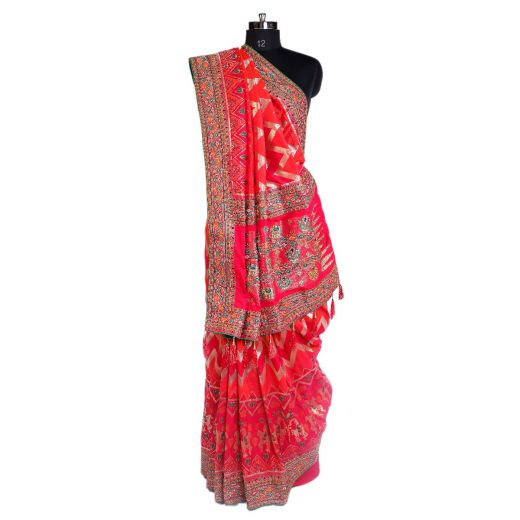 Art Silk Saree With Embroidery In Border And Pallu 3