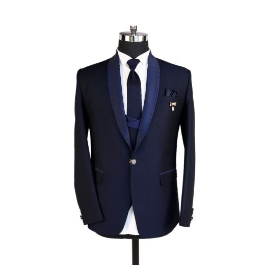 Blue Tuxedo Suit Made Of High Quality Imported Fabric