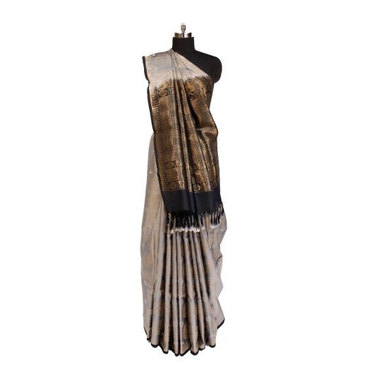 Pure Soft Silk Saree With Very Nice Contrast Of Grey And Black