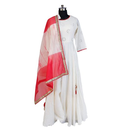 Long Kurti With Dupatta In Cotton Material