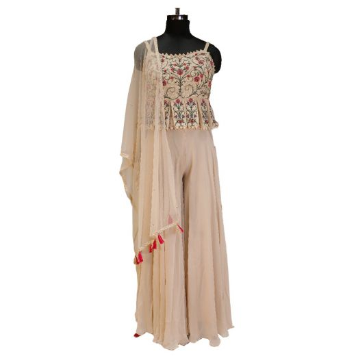 Spaghetti Top With Palazzo In Indowestern Look