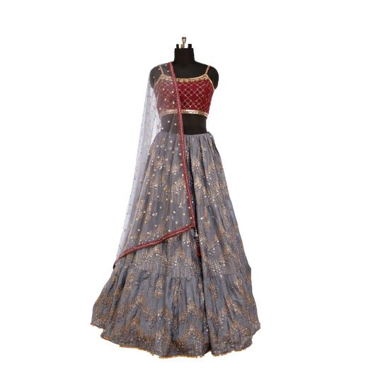 Silk Lehenga in Grey - Maroon Combination with Mirror and Sequins Work
