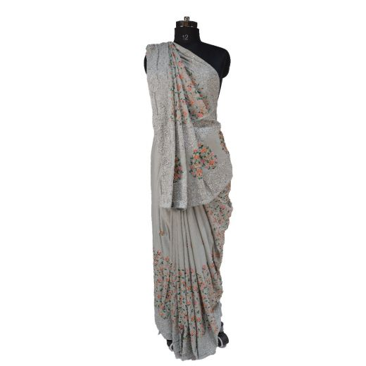 Synthetic Silk Saree with Full Jall Resham Work