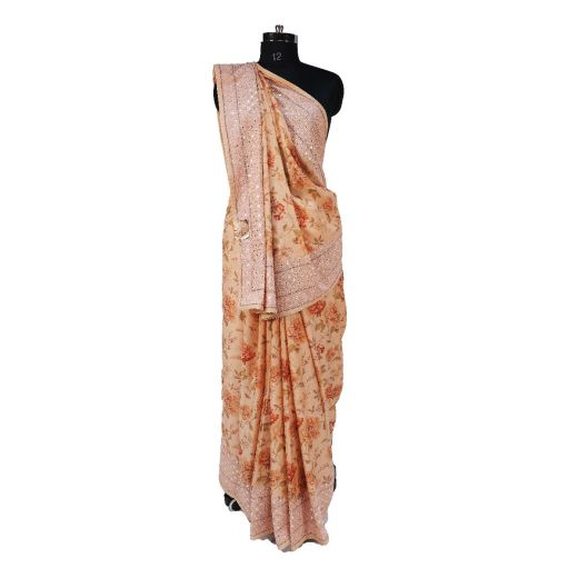 Floral Print Georgette Saree With Gota Work Border and Heavy Work Blouse