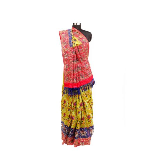 Taffeta Silk Patola Embroidery Saree With Traditional Hand Touchup Work In Border And Pallu