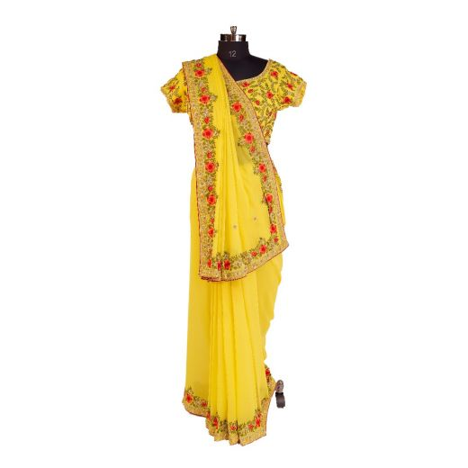 Sixty Grams Georgette Saree Choli With Parcy Work Border and Heavy Blouse