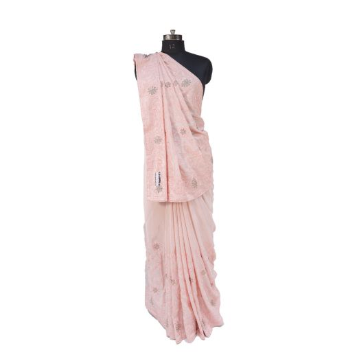Synthetic Silk Saree Having Tone To Tone Colour Full Jall Work With Diamond Touchup